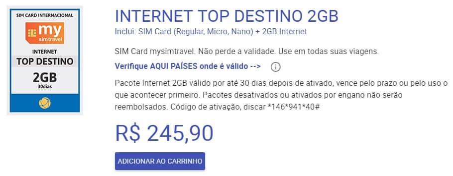 Pacote de internet do chip pré pago para América do Sul