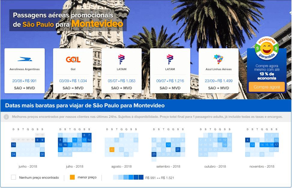 Como achar passagens em promoção para o Uruguai: passagens aéreas promocionais em Montevidéu