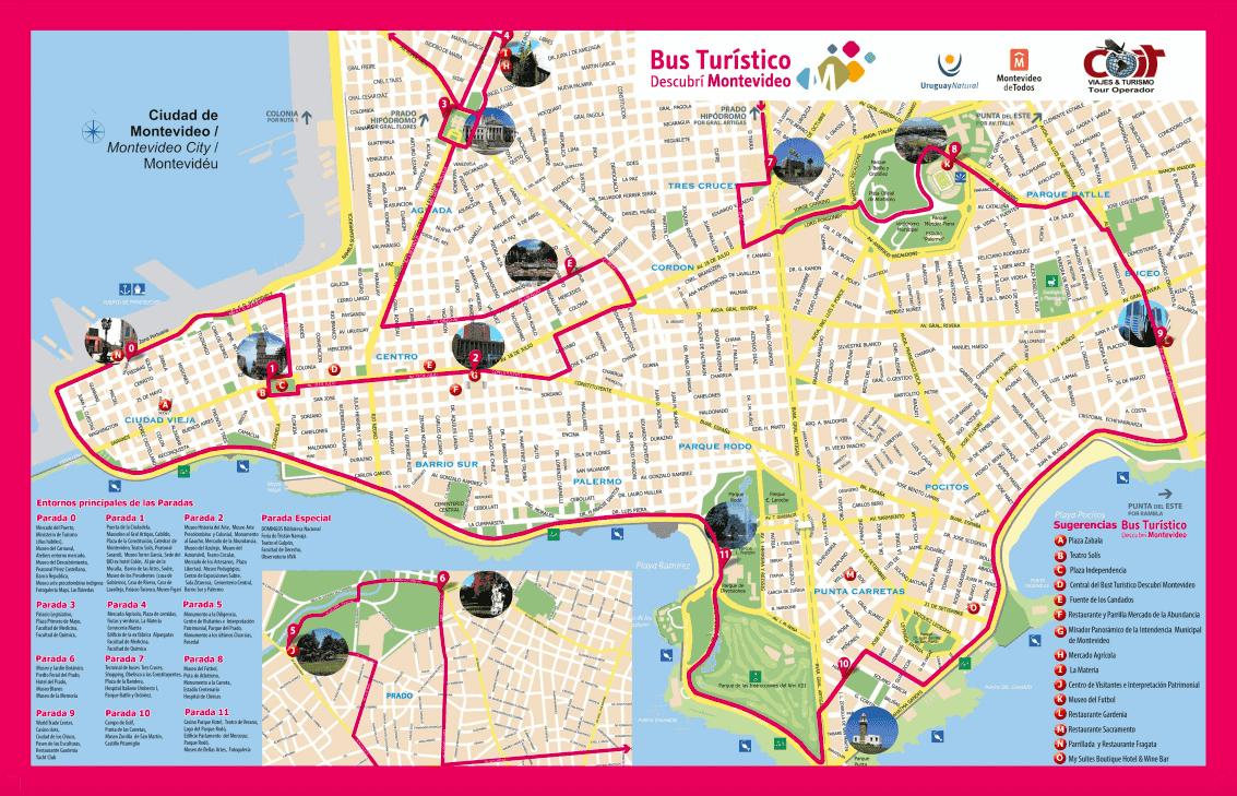 Passeio de ônibus turístico em Montevidéu: mapa