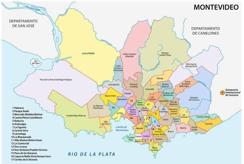 Mapa turístico de Montevidéu: mapa da cidade