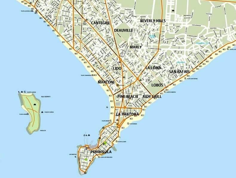 Mapa turístico de Punta del Este: mapa da cidade